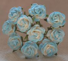 1 cm CYAN BLUE Mulberry Paper Roses